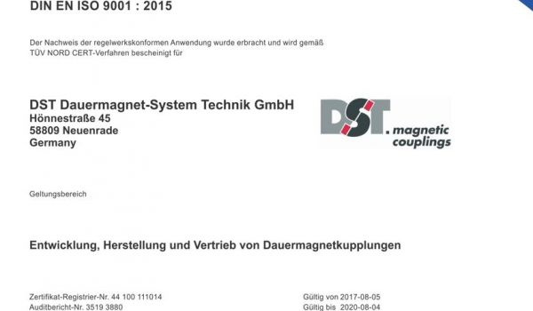 DST now complies with new quality management system ISO 9001:2015